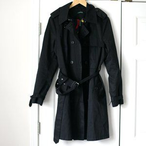 Ralph Lauren black mid length trench coat